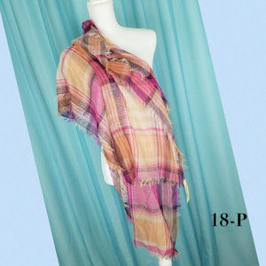 Collection 18 Camel Textured Plaid Wrap 21X72